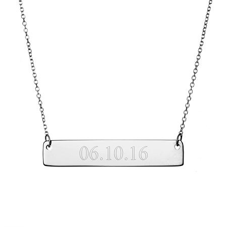 Engravable Date Silver Bar Necklace