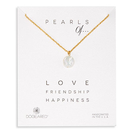 Dogeared Pearls of Love Friendship Happiness Gold Necklace