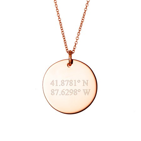 Custom Coordinate Rose Gold Round Tag Pendant