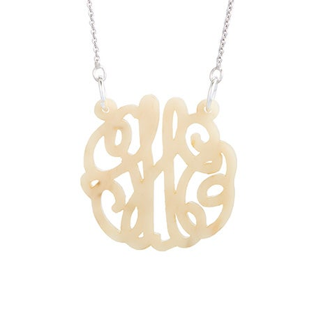 Blonde Marble Acrylic Monogram Necklace