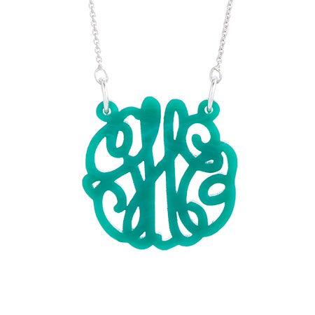 Green Marble Acrylic Monogram Necklace