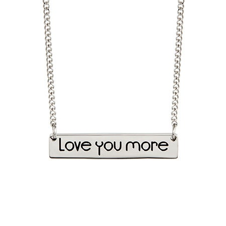 Engravable Love You More Name Bar Necklace
