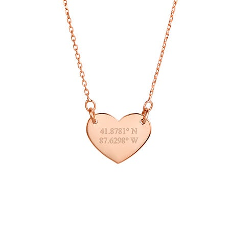 Custom Coordinate Rose Gold Heart Necklace