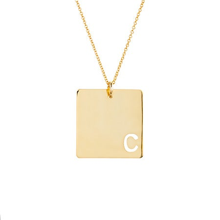 Custom Cut Out Initial Gold Square Necklace