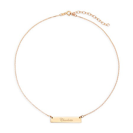 Engravable Bar Gold Choker Necklace