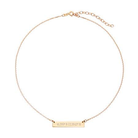 Custom Coordinate Bar Gold Choker Necklace