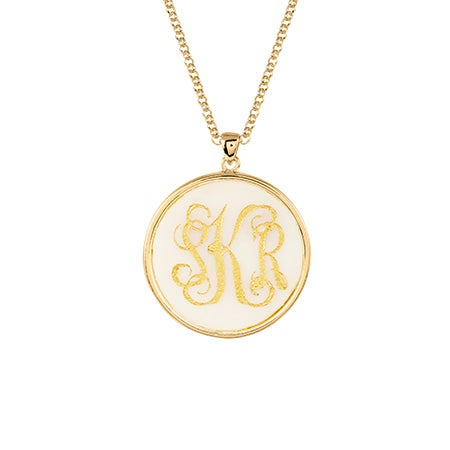 Custom Acrylic Monogram Gold Bezel Necklace