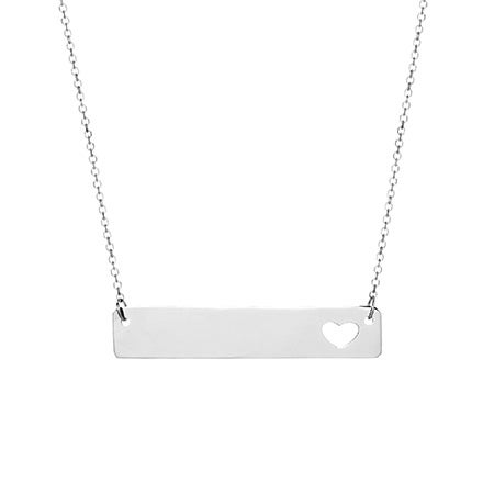 Engravable 14K White Gold Name Bar with Heart Cut Out