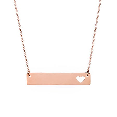 Engravable 14K Rose Gold Name Bar with Heart Cut Out
