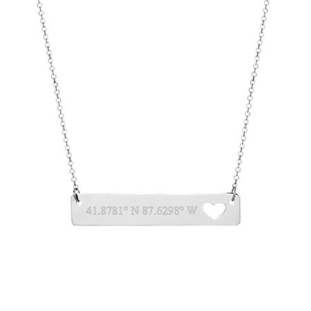 Custom Coordinate 14K White Gold Heart Cut Out Bar Necklace
