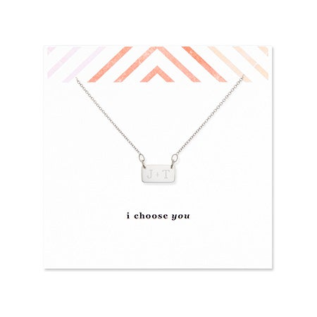 I Choose You Couples Initial Silver Bar Necklace