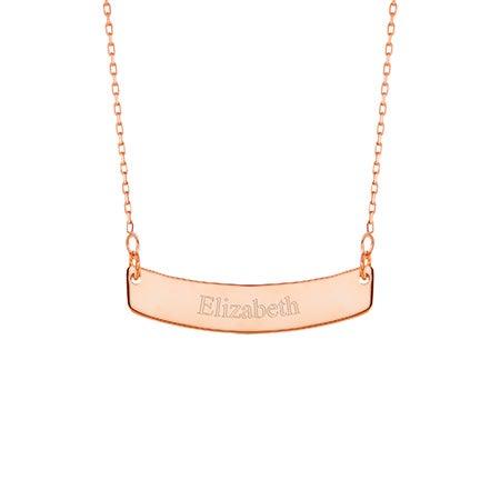 Engravable Rose Gold Curved Name Bar Necklace