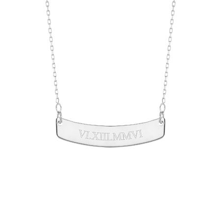 Roman Numeral Silver Curved Name Bar Necklace