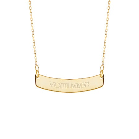 Engravable Roman Numeral Gold Curved Name Bar Necklace