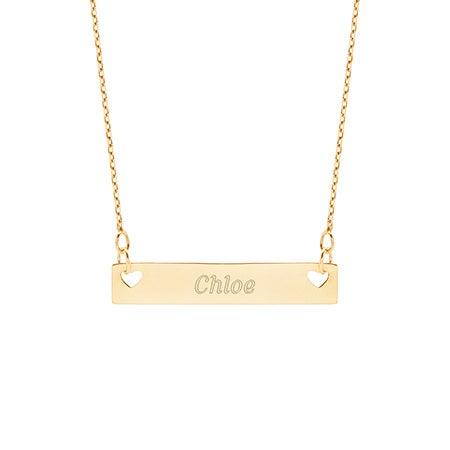 Engravable Double Heart Gold Name Bar Necklace