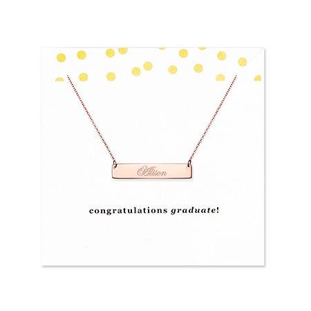 Graduation Rose Gold Name Bar Necklace