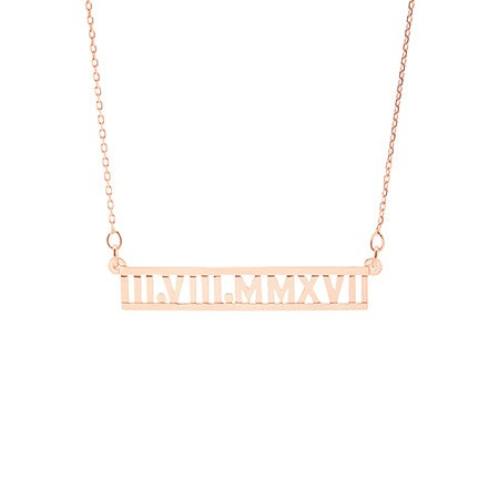 Custom Roman Numeral Rose Gold Necklace