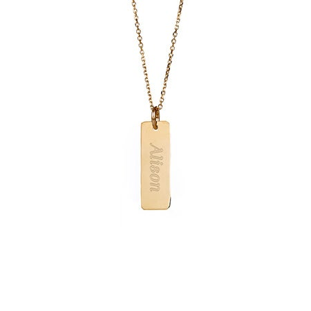 Engravable Small Vertical Gold Bar Necklace