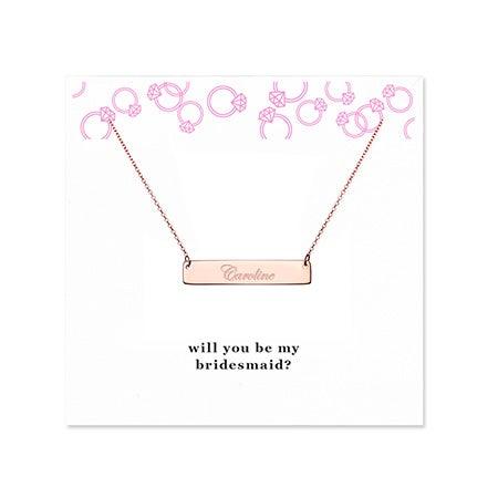 Bridesmaid Rose Gold Name Bar Necklace