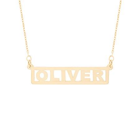 Custom Bar Nameplate Gold Necklace