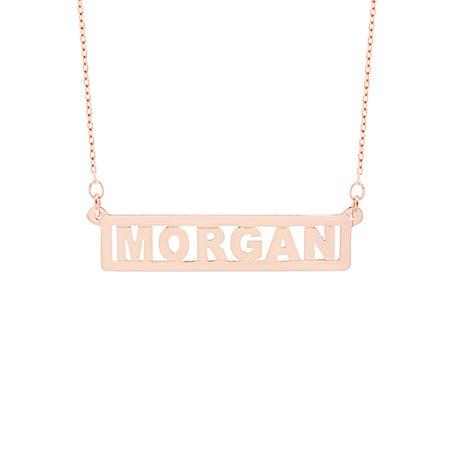 Custom Bar Nameplate Rose Gold Necklace