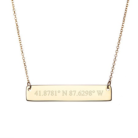 Custom 14K Gold Coordinates Bar Necklace
