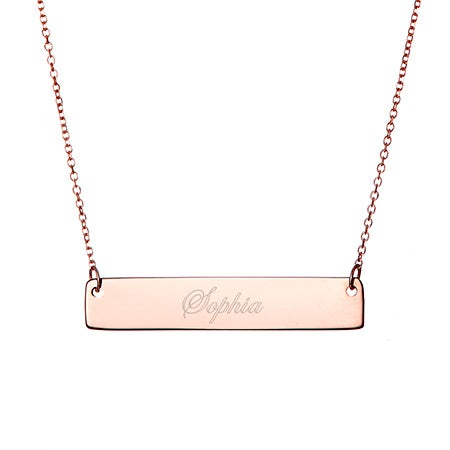 14K Rose Gold Name Bar Necklace