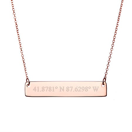 Custom 14K Rose Gold Coordinate Bar Necklace