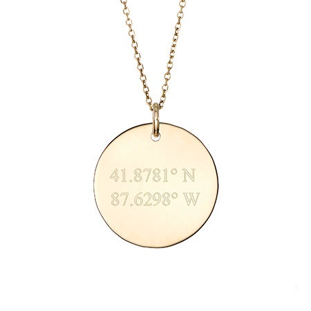 Custom 14K Gold Coordinate Round Charm Necklace