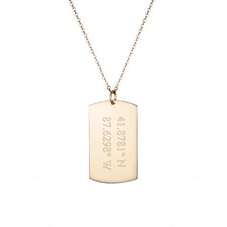 14K Gold Custom Coordinate Dog Tag Necklace