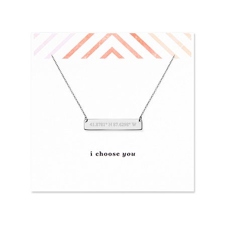 I Choose You Coordinate 14K White Gold Bar Necklace