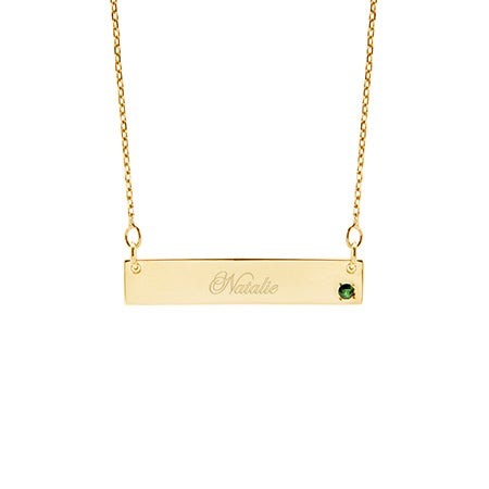 Custom 14K Gold Birthstone Name Bar Necklace