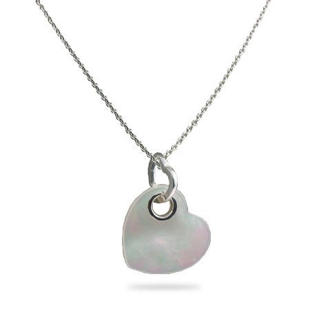 Designer Style Mother of Pearl Silver Heart Pendant