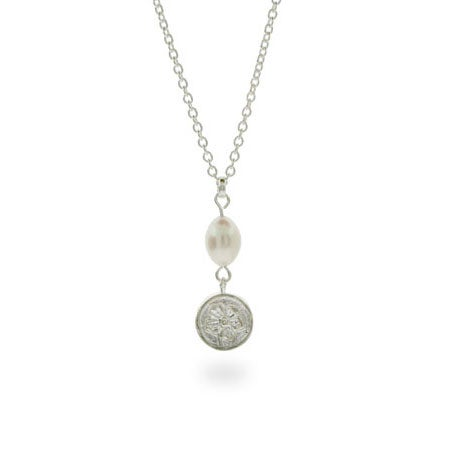 Tiffany Style Rose Necklace with Freshwater Pearl