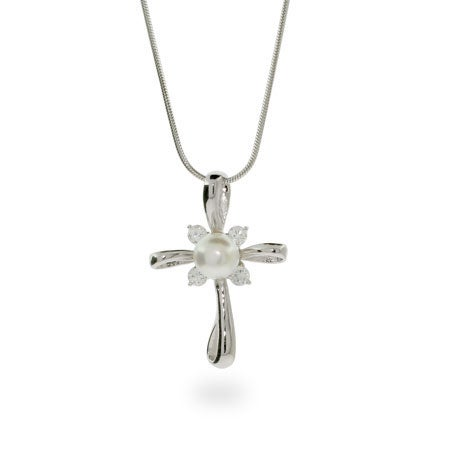 Radiant Sterling Silver Cross with Pearl