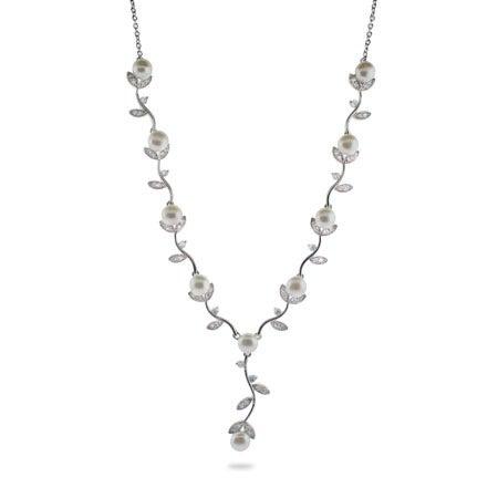 Pearl CZ Vine Necklace