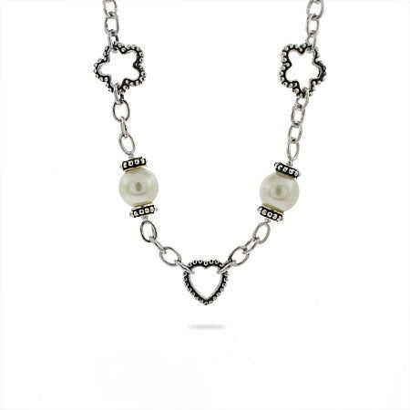 Designer Inspired Pearl Charm Link Necklace