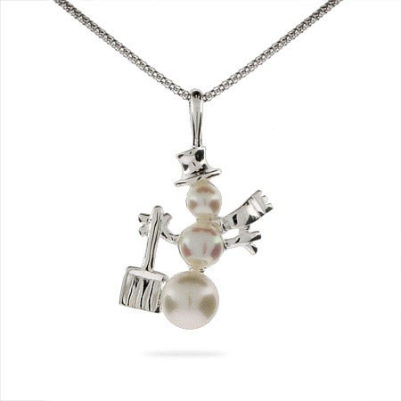 Frosty the Snowman Freshwater Pearl Pendant
