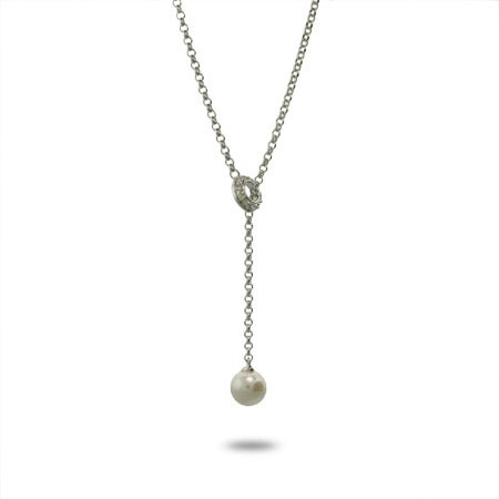 Pave CZ Circle Pearl Lariat Necklace