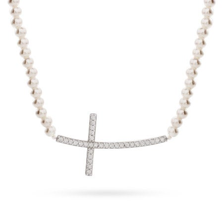 Sterling Silver Pearl CZ Sideways Cross Necklace
