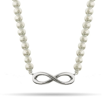 Sterling Silver Pearl Infinity Necklace