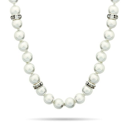 Pearl Necklace with Swarovski Crystal Accents