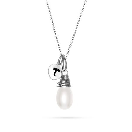 Hand Stamped Initial Charm with Freshwater Pearl