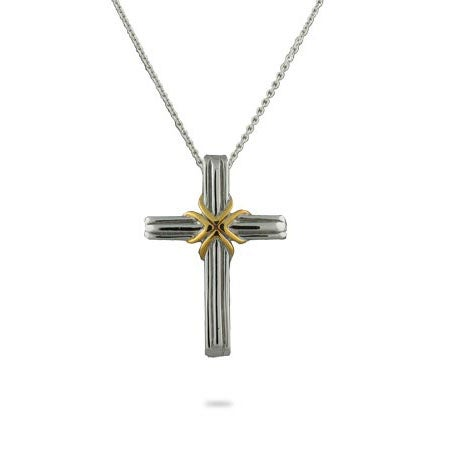 Designer Style Two Tone Cross Pendant | Eve's Addiction®