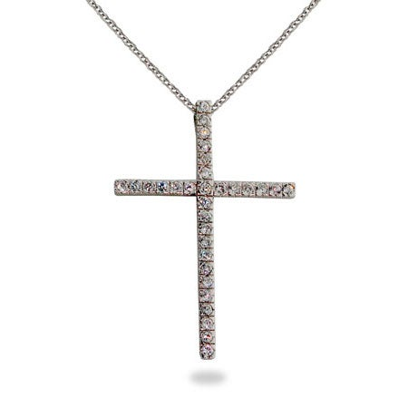 Sterling Silver Diamond CZ Cross