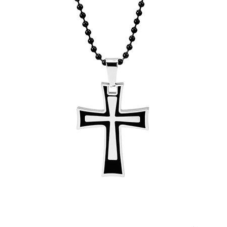 Engravable Stainless Steel Black Frame Cross Pendant