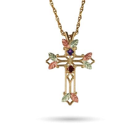 2 Stone Black Hills Gold 10K Gold Cross Necklace