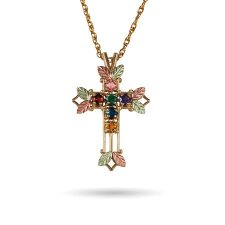 Customizable 6 Birthstone 10K Gold Cross Pendant | Eve's Addiction