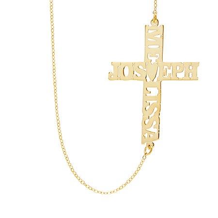 Custom Gold Sideways Couple's Name Cross Necklace