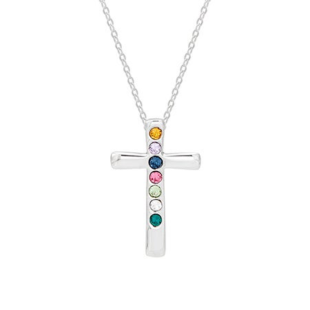 7 Birthstone Custom Swarovski Cross Necklace